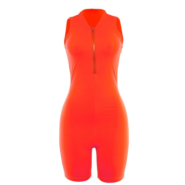 in stock Fluorescence Color Jumpsuits Shorts Sleeveless with Zipper Elastic Sport Fitness Suits Women Fashion Sport Suits