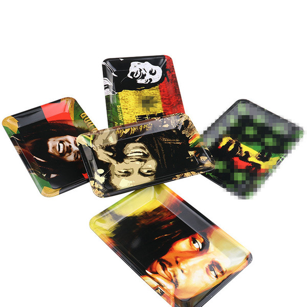 5 Styles Bob Marley RAW Rolling Tray Metal Tobacco 180x125mm Handroller Roll Tin Case Spice Plate Cigarette Storage Smoking Vaporizer Pen