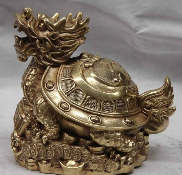 China Copper Brass Wealth Money Blessing Dragon turtle Tortoise Cuckold