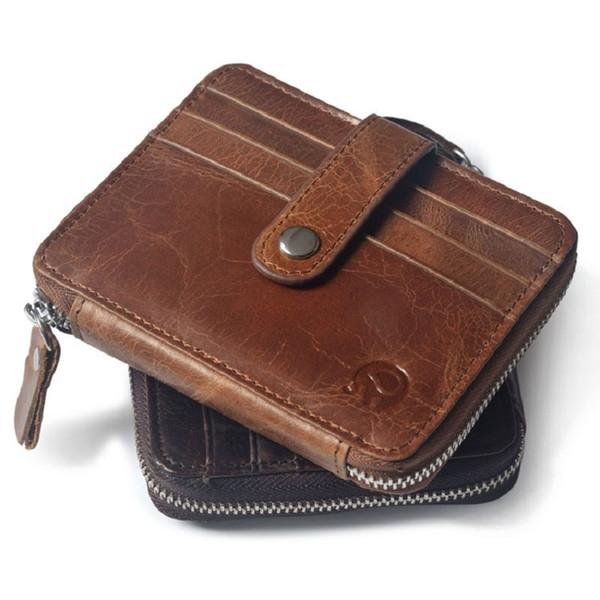2017 Thin Billfold Vintage Wallet Men Money Clips Genuine Leather Clamp For Money Holder Credit Card Case Cash Clip 12 Card Pocket