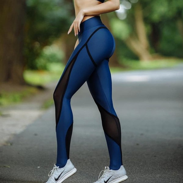 Blue New And Black Patchwork Women Mesh Leggings Sexy Push Up Slim Jeggings High Elastic Waist Breathable Fitness Leggings
