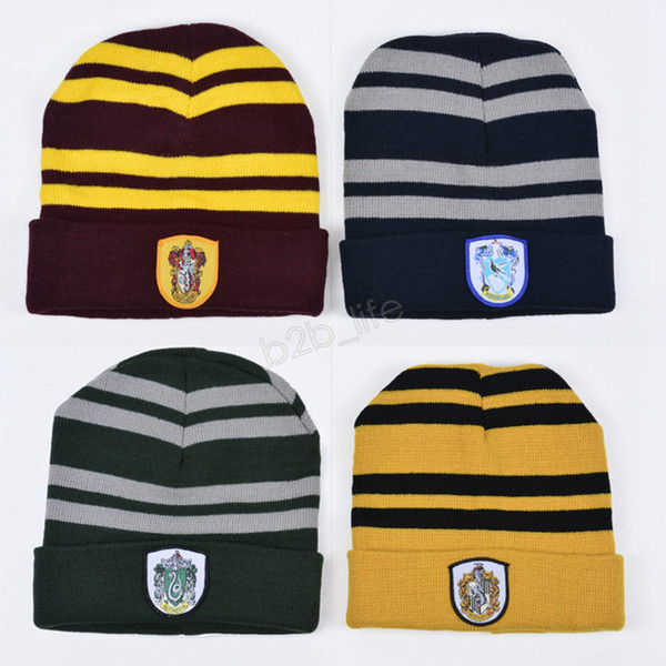 Harry Potter Beanie Hat Gryffindor Slytherin Hufflepuff Ravenclaw Cap Knit Hat Cosplay School Rayas Insignias Sombreros Warm Winter Cap LJJA2811