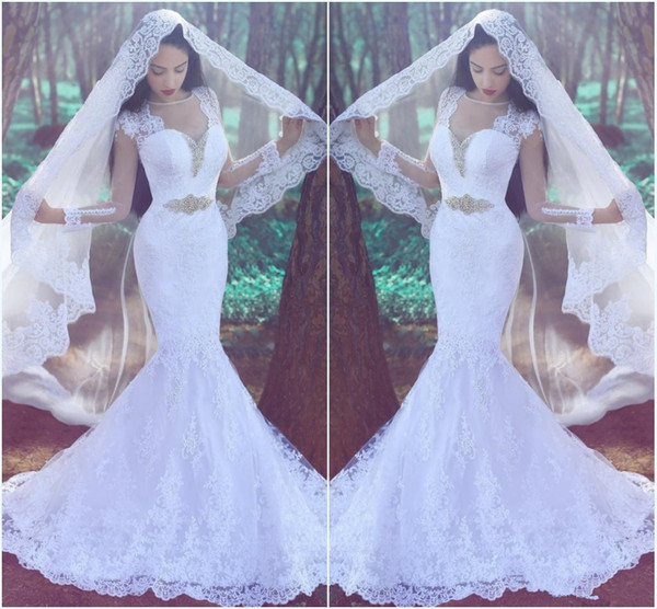 Illusion Long Sleeve Lace Wedding Dress Mermaid Style White Sheer Sweetheart Beading Belt Trumpet Bridal Gown with Train