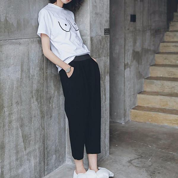 KLVКоттонная женская футболка с надписью T-Tee Футболка с принтом на груди Emoji Street Boob Harajuku