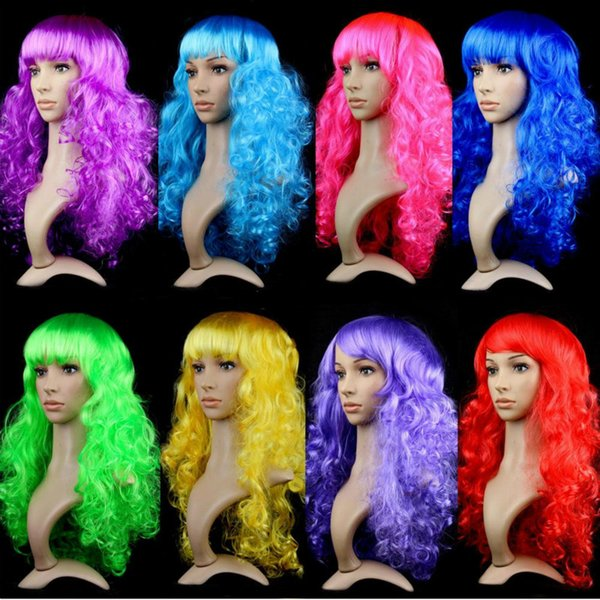 Women Anime Cosplay long Wigs Multicolor Cheap Synthetic Hair Wig Cosplay Colored Costume ladies dress Deep Wave Wigs For Party club night