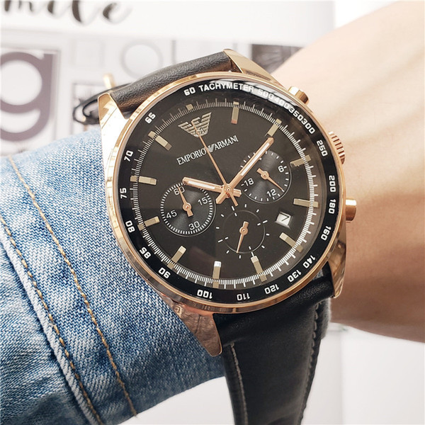 NUEVOsesenta y cincodel reloj para hombre famoso de alto nivel con todas las funciones de Armani de alta calidad Reloj de los deportes de los hombres miran sin marco 56