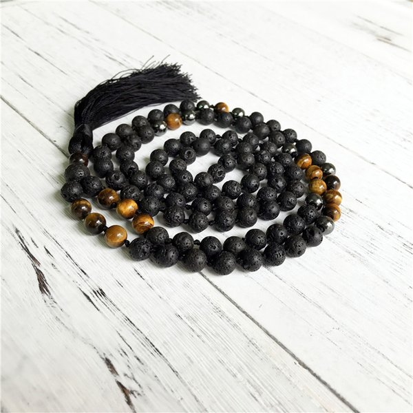 Hematite & Lava Stone & Tiger Eye Necklace Hand Knotted Prayer Necklaces Black Beads Men's Necklaces Long Tassel Jewelry Yoga Mala Necklace
