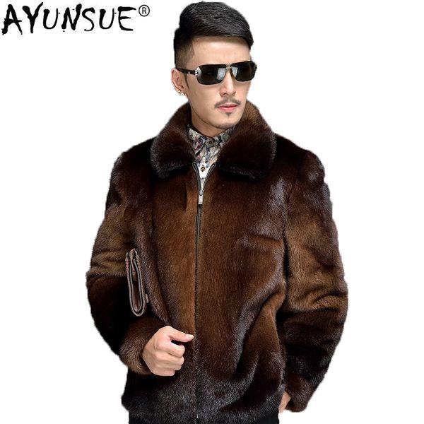 AYUNSUE Mens Mink Coat Real Fur Men Warm Winter Jacket Brown Natural Fur Coats and Jackets Short Luxury Overcoat Man KJ1405