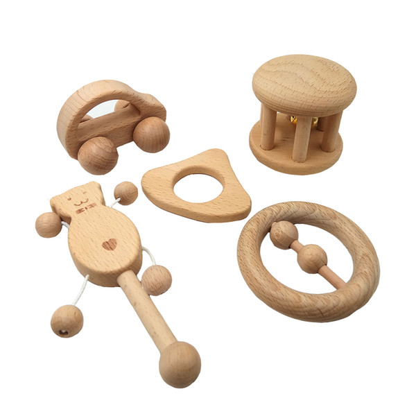 Newborn soothing infant teeth chattering baby kit set solid wood toy rattle Teething Relief Toy Molar Teether