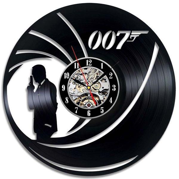 James Bond 007 Orologio da parete realizzato in vinile Home Decor Regalo fatto a mano Art Decor (Dimensioni: 12 pollici, Colore: Nero)