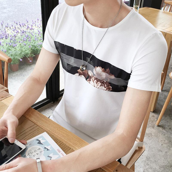 Cool2019 Shivering Yinhua Xia Round Neck Black Tide Male Personality Enlarge Code Short Sleeve T Pity