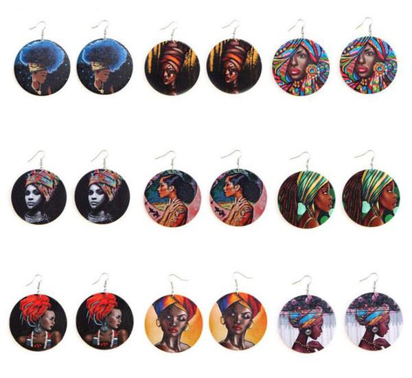 Femmes ethniques style africain imprimé Boucles d'oreilles en bois coloré Dangle Afro Filles Bois Charm Pendentif crochet d'oreille Eardrop boucles d'oreilles pour les femmes