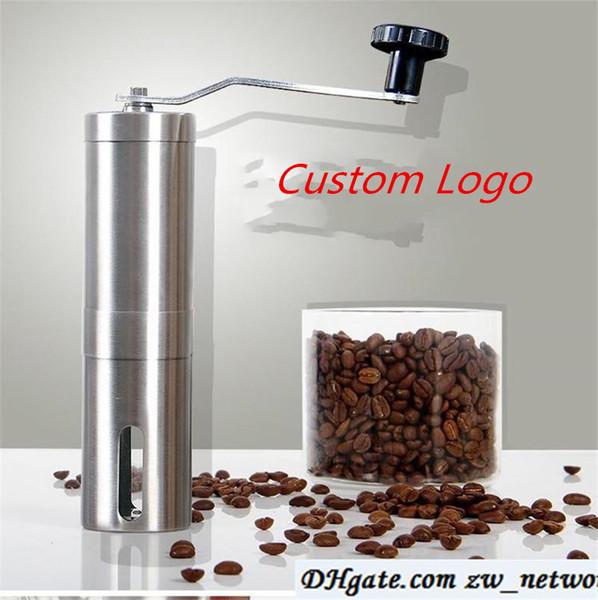 top popular Custom Logo! Coffee Grinder Bean Mills Manual Stainless Steel Portable Kitchen Grinding Tools Perfumery Cafe Bar Handmade coffee mills 2021