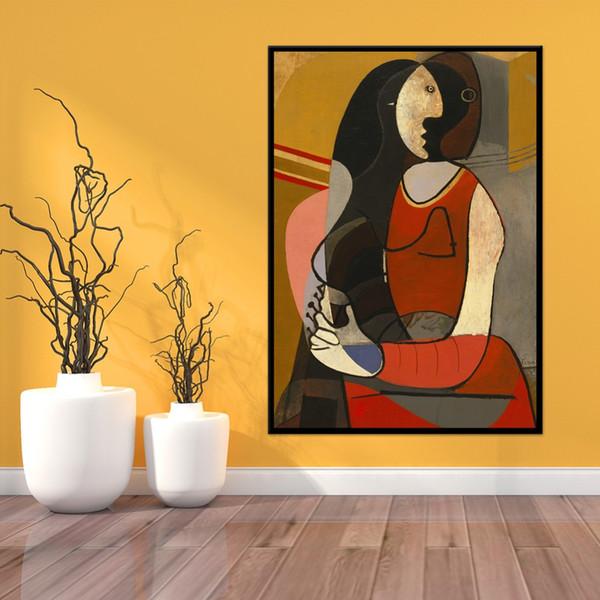 Berühmte Picasso Sitzende Frau Replik Hochwertige Handgemalte Abstrakte Kunst Ölgemälde Auf Leinwand Wandkunst Home Office Decor p80