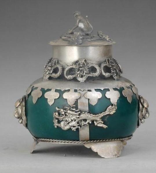 Tibetan Silver old TIBET SILVER JADE ARMORED dragon INCENSE BURNER tools wedding Decoration Brass