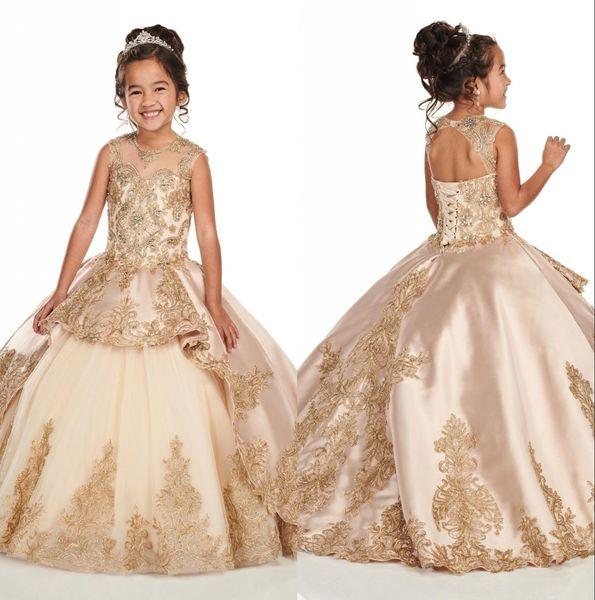 골드 아플리케 레이스 샴페인 소녀 미인 대회 드레스 2020 캡 슬리브 보석 구슬 크리스탈 영성체 꽃 소녀 드레스 BC2500
