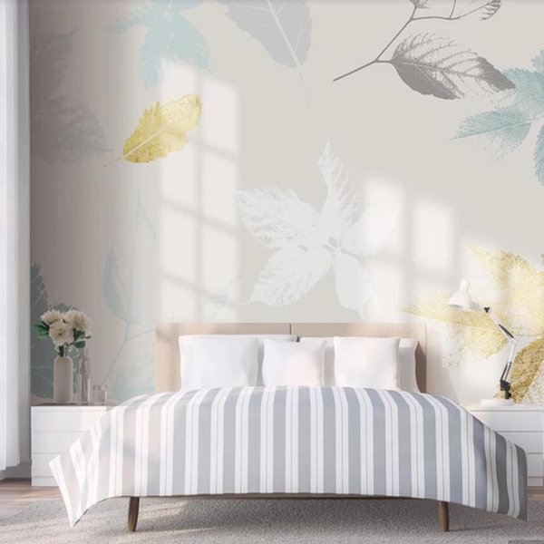 Nordic Hand Painted Gold Leaves Wallpaper Mural Wall Paper Rolls For Living Room Printed Murals Paper Home Wall Decor Mobile Wallpapers Mobile