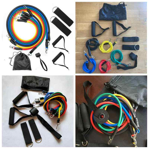 top popular Outdoor Sports Latex Resistance Bands Workout Exercise Pilates Yoga Crossfit Fitness Tubes Pull Rope 11 Pcs Set ZZA2208 30Sets 2021