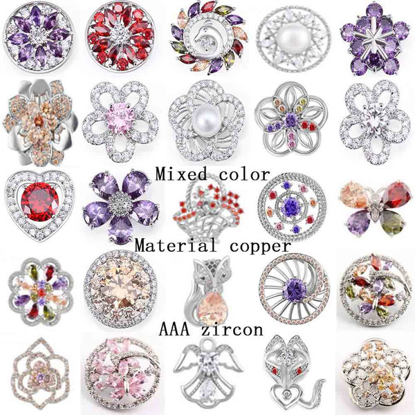 top popular NOOSA chunk Snaps Button Jewelry Hot wholesale 50pcs lot Mix styles 18mm Rhinestone Metal Snap Button Charm Fit Bracelets necklace 2021