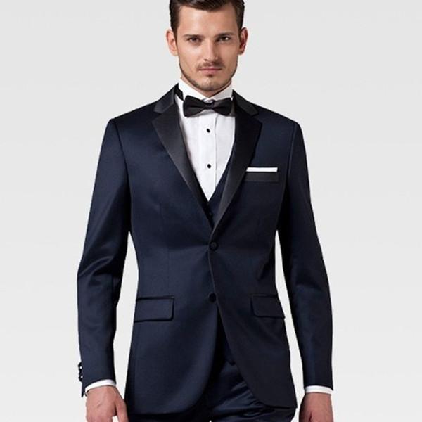 Handsome Navy Blue Wedding Tuxedos Black Notched Lapel Slim Fit Pants Suits 2 Pieces Men Formal Wear Jackets