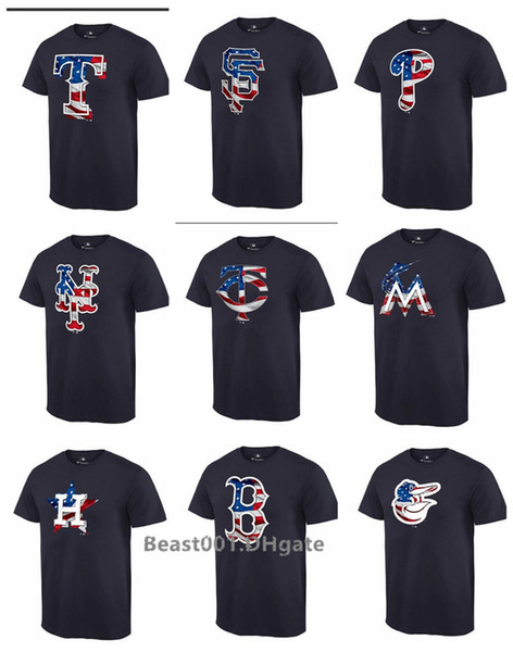 Men Women Youth Twins Rangers Giants Phillies Mets Red Sox Orioles Braves Reds Marlins Astros Black Banner Wave T-Shirt