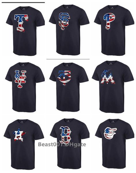 Hombres Mujeres Jóvenes Mellizos Rangers Gigantes Filis Mets Medias rojas Orioles Bravos Rojos Marlins Astros Banner negro Wave Camiseta