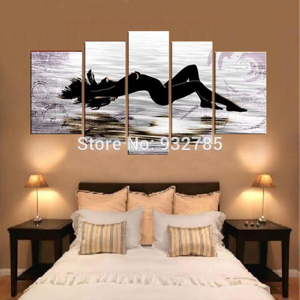 Nude woman Portrait Handmade Oil Painting Lady Home Bedroom Hotel 5 piece/set wall art decor