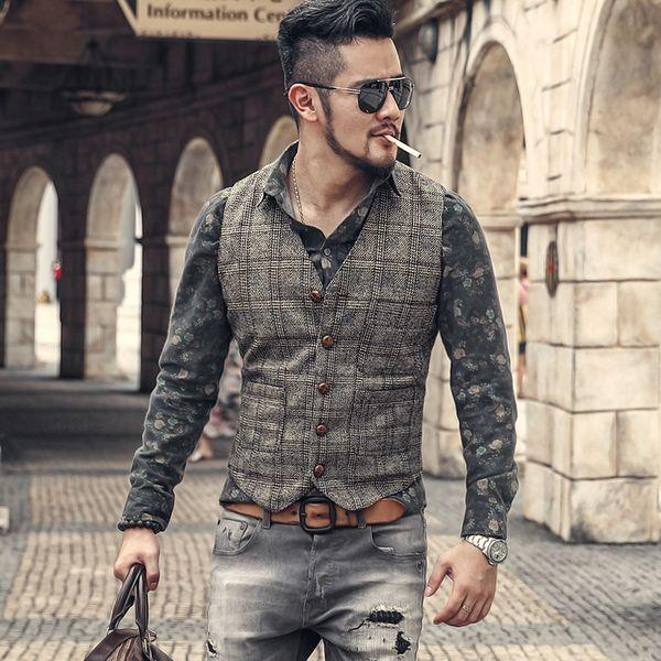 Men Autumn Winter New Retro Slim Casual Lattice Suit Vest Men's Waistcoat Brand European Style Plaid Vintage Business Vest M97-3 Y190420