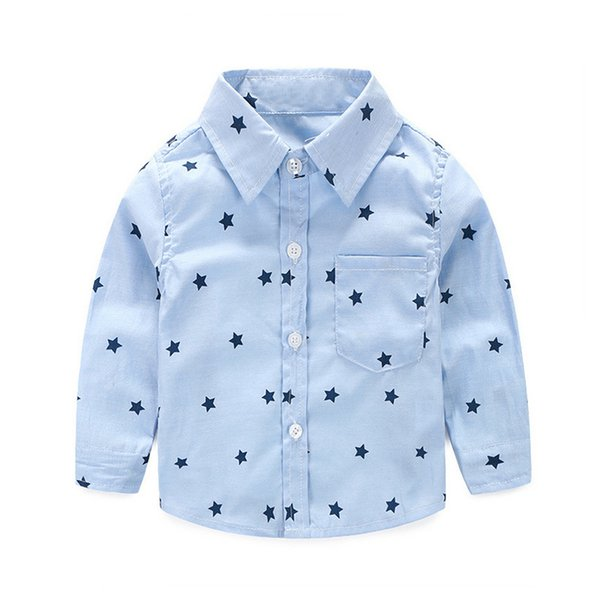 Everweekend Cute Toddler Baby Boys Gentle Stars Print Tees Shirts Candy Blue and Green Color Fashion Infant Kids Spring Clothes