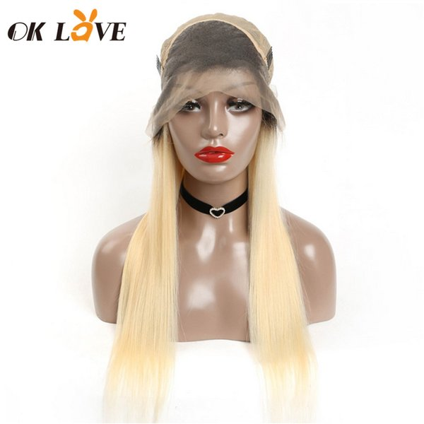 OKLove Lace Front Wig 1B 613 Blonde Ombre Color Remy Brazilian Straight Wig Pre Plucked Glueless Human Hair Wigs for Women