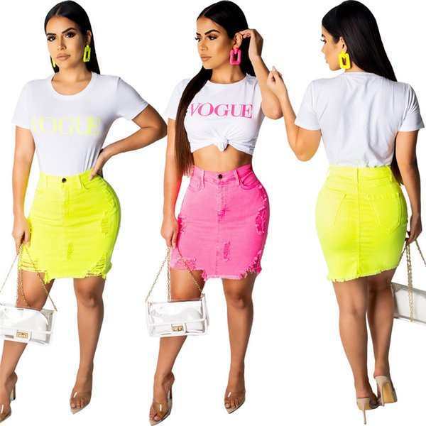 cf34c8293 Women denim mini skirts casual ripped candy color pocket Jeans short Skirt  hollow out hot sell fashion skinny sexy skirts summer clothing591