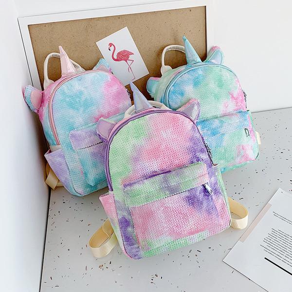 Pullu unicorn sırt çantası karikatür Açık spor renkli sırt çantası seyahat okul şeyler çanta öğrenci moda bebek kız saklama torbaları FFA2782-1