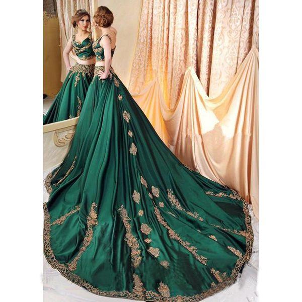 Indian Abaya Green 2 Piece Robes de Soirée avec Or Dentelle Applique Robes De Bal Sexy Saoudien Arabe Perlé Kaftan Robe Soirée Wear