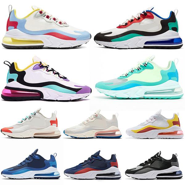 Acheter Nike Air Max 270 React Designer React Chaussures De Course BAUHAUS Pour Hommes Femmes OPTICAL Noir Blanc Hommes Formateurs Baskets De Sport