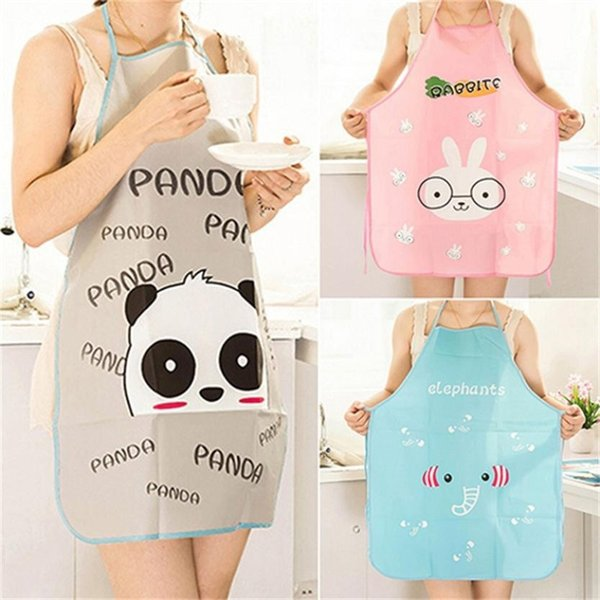 1Pcs Cartoon Waterproof Polyester Apron Woman Adult Bibs Home Cooking Baking Coffee Shop Cleaning Aprons Kitchen Accessory