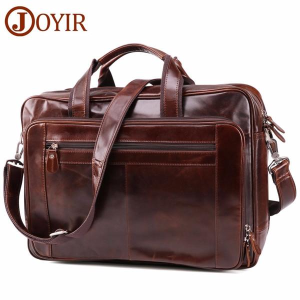 Genuine mens Leather Men's Briefcase Business Computer Shoulder Laptop messenger Travel Bag Handbags designer wholesale document case Best
