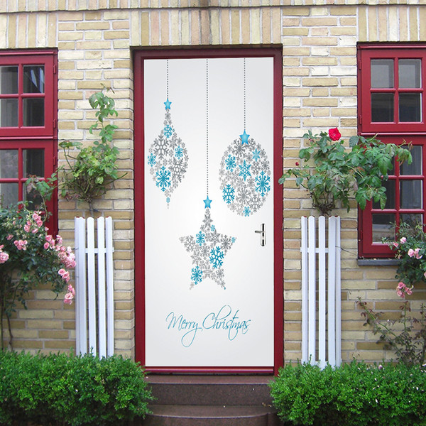 2Pcs/Set Self-Adhesive Merry Christmas Day Door Stickers Decals DIY Dorm Room Decoration Renovation Removable PVC Wallpaper Poster