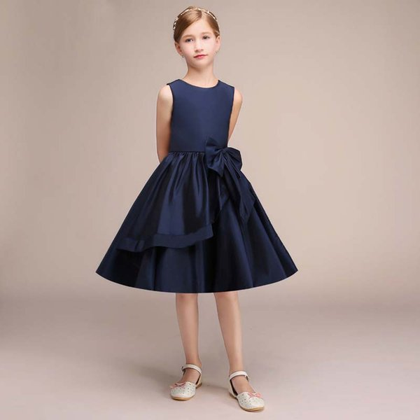 Latest Navy Blue Satin Flower Girl's Dress Knee Length Formal Children Dress Sleeveless Style 2019 Design