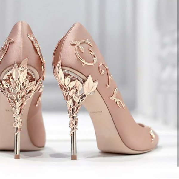 Designer Shoes Pink 4 inch Heels Wedding Bridal Shoes 2019 Metal Accessories Fashion Ralph Russo Pointed Women Shoes High Heels for Wedding