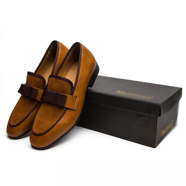 Mocassini per banchetti da uomo in vera pelle verniciata con punta in metallo antiscivolo su scarpa paty Patchwork in pelle scamosciata con farfallino