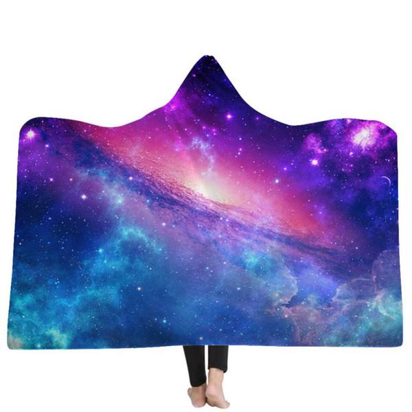 Sternenhimmel Plüsch Bedruckte Mikrofaser Mit Kapuze Decke Erwachsene Kinder Sherpa Fleece Galaxy Tragbare Wurfdecken Tv-aufwachende Decke