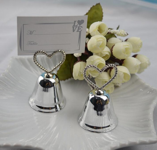 Wedding Table Decoration Favors Gold and Silver Kissing Bells Heart Bell Place Card Holder Photo Holder 50pcs wholesale