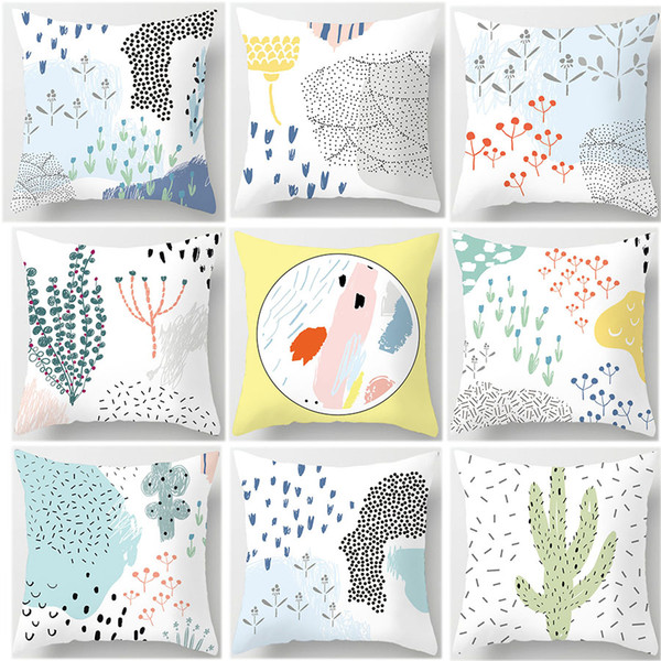 Desert Oasis Cactus Flower Hand Painting Cushion Covers Minimalist Simple Style Pillow Cases 44X44cm Sofa Chair Decoration