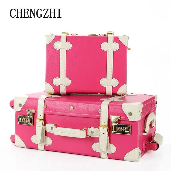 """CHENGZHI 20""""22""""24""""inch retro leather women luggage set vintage spinner carry on travel trolley suitcase on wheels"""