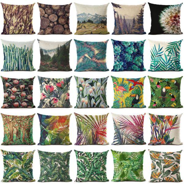 Sayfa Bir Tropikal Bitki Ağaç Çiçek Manzara Renkli Baskı Yastık Minder Örtüsü Ev Dekoratif Hediyeler Tek taraflı Baskı Yastık Kılıfı