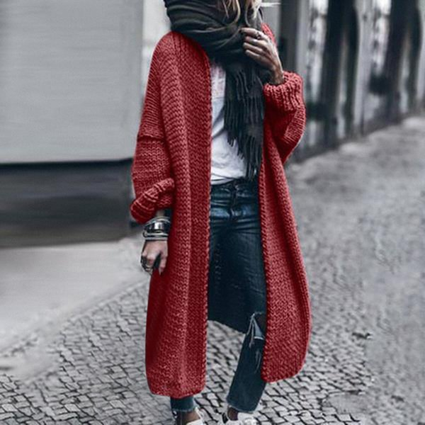 Women Cardigan Loose Knitted Sweater Coats Spring Autumn Knitting Outwear Ladies Long Coats Solid Color Overcoat