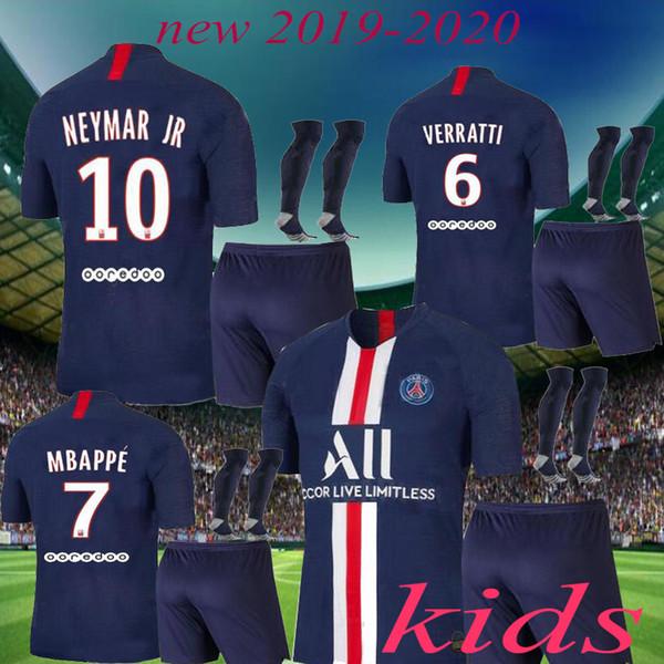 2019 2020 Paris kids kit soccer Jerseys 19 20 mbappe home away VERRATTI CAVANI DI MARIA MAILLOT DE FOOT child survetement psg kids kit