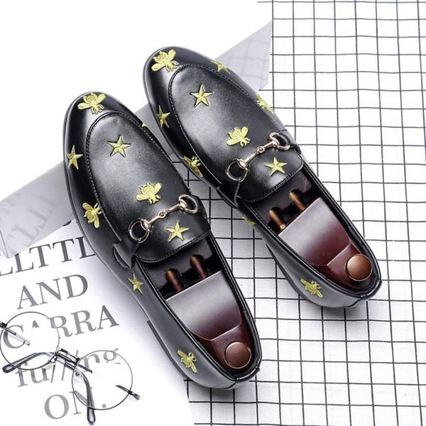 Luxus Männer Kleid Schuhe High Top Britischen Stil Bee Rrivet Kausalen Luxus Schuhe Herren Müßiggänger Mokassins Italienische Männer Hochzeit Schuhe Q-499