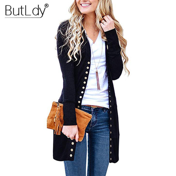 Long Sweater Women Buttons Knitted Cardigan Long Sleeve Ribbed Neckline Knitwear Coat Autumn Winter 2019 Fashion Jumpers Ladies T190830