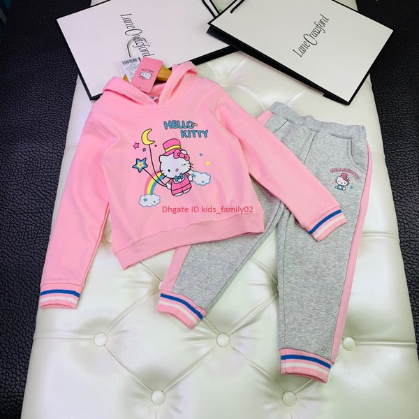 Girls trousers sets kids designer clothes cartoon cat pattern hoodies + casual pants 2pcs autumn new cotton terry material sets news